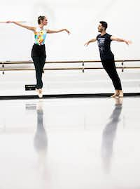 Kaitlyn McDermitt, a former company member of Avant Chamber Ballet, jumps while looking at her dance partner, Riley Moyano of Texas Ballet Theater, during a rehearsal by AKA:ballet at Southern Methodist University.(Carly Geraci/Staff Photographer)