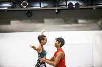 Amanda Fairweather of Texas Ballet Theater is held up by Bruce Wood Dance's Adrián Aguirre during an AKA:ballet rehearsal.(Carly Geraci/Staff Photographer)