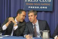 Reps. Will Hurd, left, and Beto O'Rourke receive civility award Tuesday at the National Press Club.(Todd J. Gillman/Staff)