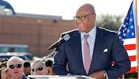 <p>Albert Black Jr., Dallas Housing Authority Board Chairman, deliverers remarks during a ceremonial ground breaking for the Texas Rangers MLB Youth Academy, Monday, Nov. 14, 2016.</p>(Special Contributor/Brandon Wade)