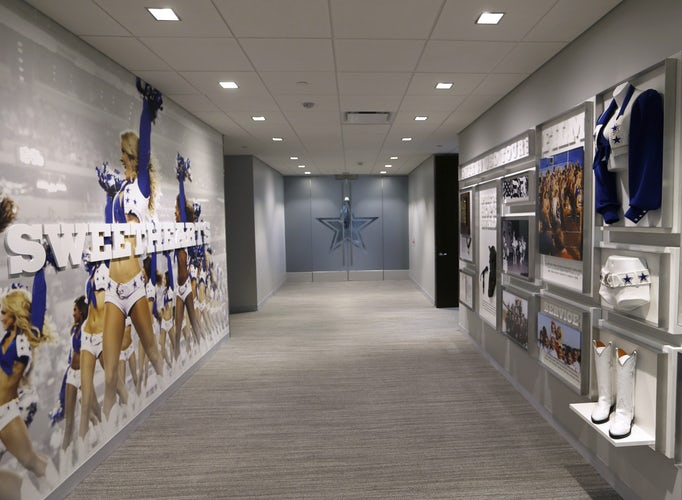 A hallway with displays about the Dallas Cowboys cheerleaders in a  nonpublic area at the Dallas Cowboys headquarters at The Star in Frisco on  July 17 16f237a6c
