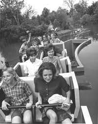 The ambitious Runaway Mine Train ride opened in April 1966 at Six Flags and cost the park a million dollars to construct. Shortly after opening, the ride stalled and passengers were forced to walk off the runaway ride. (Joe Laird/The Dallas Morning News)