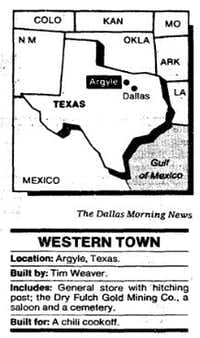 "Description of the storefront ""Western town"" built in Argyle, Texas by Tim Weaver. Graphic from Dallas Morning News article ""Argyle man built a town, then a business to go with it"" from June 10, 1984"