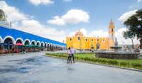 The zocalo, or plaza, is a major gathering spot at Cholula, near Puebla.(AlexFigRom/ )