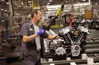 Harley-Davidson motorcycle engines are assembled at the company's Powertrain Operations plant on June 1, 2018 in Menomonee Falls, Wis. The European Union said it plans to increase duty costs on a range of U.S. imports, including Harley-Davidson motorcycles, in retaliation for the Trump administration's new tariffs on EU metal exports. (Scott Olson/Getty Images)