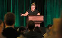 Keynote speaker Lindy West gives her presentation at the Mayborn Literary Nonfiction Conference held at the Hilton DFW Lakes Executive Conference Center in Grapevine on Saturday, July 21, 2018.  (Louis DeLuca/Staff Photographer)