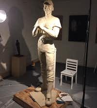 Ernie Banks' statue in sculptor Emmanuel Gillespie's studio before it was sent to the foundry for casting.(Emmanuel Gillespie)