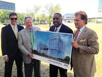 "<p>Heady Investments' Sayres Heady, left, developer Randy Heady, Plano Mayor H<span style=""background-color: transparent;""><span style=""font-size: 1em;"">arry LaRosiliere and Mark Lewis at the </span>groundbreaking<span style=""font-size: 1em;"">.</span></span></p>(Steve Brown)"