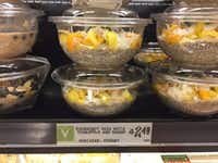 H-E-B's Central Market has expanded its single-serving, grab-and-go meal replacement items to include cold oat and chia bowls. (Maria Halkias/Dallas Morning News)
