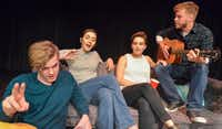 Devin Berg's <i>Suckers</i>, also produced by Imprint Theatreworks, is on the lineup at the 20th annual Festival of Independent Theatres at the Bath House Cultural Center. Matthew Allan Holmes (from left), Natalie Hope Johnson, Cameron Casey and Josh Bangle star. (Robert W. Hart/Special Contributor)