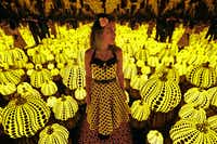 Lyza Hernandez looks at the Yayoi Kusama's installation: All the Eternal Love I Have for the Pumpkins, at the Dallas Museum of Art in Dallas on Sept. 22, 2017.(Nathan Hunsinger/Staff Photographer)
