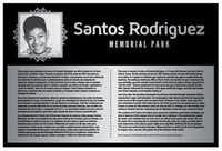Plaque at the Santos Rodriguez Memorial Park addresses his short life in Dallas and the 12-year-old boy's place in the civil rights struggle.(Courtesy of Centro de la Raza/Courtesy of Centro de la Raza)