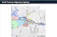 This Texas Department of Transportation map shows the five proposed alignments to improve U.S. 380. (The Texas Department of Transportation)