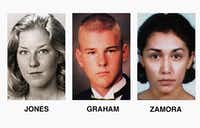 Adrianne Jones (left), David Graham and Diane Zamora, 18. The Jones and Graham photos are from the 1996 Mansfield HIgh School yearbook. Zamora is seen in a 1996 booking photo following her arrest in Jones' death.(1996 File Photo/The Associated Press)
