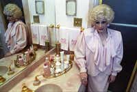 Mary Kay Ash is seen in her bathroom in July 1989.(Erich Schlegel/The Dallas Morning News)