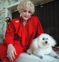 Mary Kay Ash poses with her 15-year-old poodle 'Gigi' in her North Dallas home. (John F. Rhodes/The Dallas Morning News)