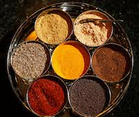"<p>Sapna Punjabi-Gupta's <span style=""font-size: 1em; background-color: transparent;"">masala dabba of spices.</span></p>(Vernon Bryant/Staff Photographer)"