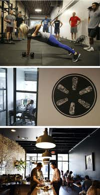 Nick Clark, founder of Dallas-based Common Desk, now owns the gym Social Mechanics (from top), four co-working spaces in North Texas, and Fiction Coffee Shop on Hall Street and Ross Avenue in Dallas. (Photos, from top: Vernon Bryant/DMN; Nathan Hunsinger/DMN; Ben Torres/Special contributor)
