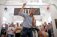 Congressman Beto O'Rourke speaks to supporters during a town hall at the Historic Santa Fe Train Depot in Gainesville, Texas, Saturday, June 9, 2018. He has now visited all 254 Texas counties since announcing his candidacy last year to unseat U.S. Sen. Ted Cruz. (Jae S. Lee/The Dallas Morning News)(Jae S. Lee/Staff Photographer)