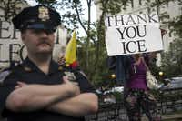 Counter-demonstrators supporting President Donald Trump's policies rally across the street from activists rallying against the administration's immigration policies outside the New York City offices of ICE. (Photo by Drew Angerer/Getty Images)(Drew Angerer/Getty Images)