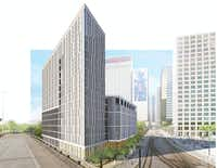 """The 2400 Bryan apartment tower is planned on the eastern edge of downtown Dallas.(<p><span style=""""font-size: 1em; background-color: transparent;"""">Perkins + Will</span><br></p><p></p>)"""