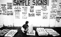 Linda Pinkston, a volunteer getting ready for the Republican National Convention, prepares some of the signs the group painted Friday.  The volunteers set a goal of 35,000 signs.(File Photo/The Dallas Morning News)