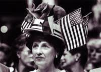 Alternate delegate Mildred Thodos of Corpus Christi donned this patriotic chapeau Tuesday while listening to a speech by Tampa, Fla., Mayor Robert Martinez during the Republican National Convention.(File Photo/The Dallas Morning News)