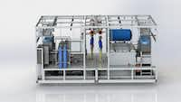 A rendering of the dual-phase cooling system TMGcore hopes to employ in their new data center.(TMGcore)
