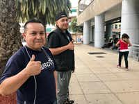 Juan Guevara from Dallas and his friend Jorge Nino from California in front of Monument to the Revolution on April 23, 2018, in Mexico City. Both were repatriated to Mexico and now trying to find ways to fit into a country they know little about.(Alfredo Corchado/Staff photographer)