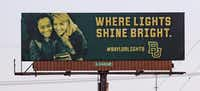 """<p>One of the billboards in the """"Where Lights Shine Bright"""" campaign features Baylor President Linda Livingstone.</p>(Jose Yau/Staff Photographer)"""
