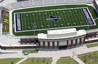 Construction continues on McKinney ISD stadium in McKinney.(Vernon Bryant/Staff Photographer)