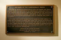 "The ""Children of the Confederacy Creed"" plaque at the Texas Capitol.(Jay Janner/Austin American-Statesman)"