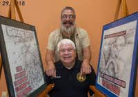 <p>Vietnam veteran Eddie Reyes, seated, partnered with local artist and fellow Vietnam-era vet Vincent Morin Jr. to create a series of drawings honoring Latino vets. They were photographed on June 19, 2018 at the Latino Cultural Center.</p>(Rex C. Curry/Special Contributor)