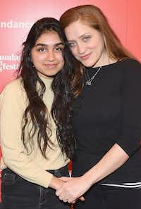 """Actor Atheena Frizzell (left) with her mother, Augustine Frizzell, at the """"Never Goin' Back"""" premiere during the 2018 Sundance Film Festival in Park City, Utah.(Sonia Recchia/Getty Images)"""