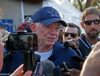 Dallas Cowboys owner Jerry Jones talks with the media after practice at training camp in Oxnard, Calif.(Jae S. Lee/Staff Photographer)