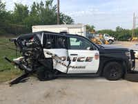 A driver slammed into the rear of a Grand Prairie Police Department SUV on July 22.(Grand Prairie Police Department)