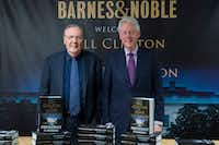 In this June 5, 2018 photo, former President Bill Clinton, right, and author James Patterson pose during an event to promote&nbsp;<i>The President is Missing</i>&nbsp; in New York.&nbsp;(Mary Altaffer/AP)