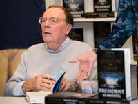 "<p><span style=""font-size: 1em; background-color: transparent;"">James Patterson signs copies of <i>The President is Missing</i> in Huntington, N.Y. on June 28, 2018.</span></p>(Scott Roth/Invision/AP)"
