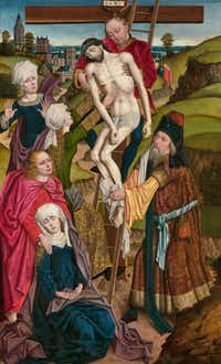 "Derick Baegert, <i>The Descent from the Cross</i>(Dalas Museum of Art/<p><span style=""font-size: 1em; background-color: transparent;"">Marguerite and Robert Hoffman Fund in memory of Dr. William B. Jordan</span></p>)"