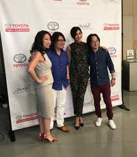 At the TAASiA event at Toyota in Plano, Karen Liu Pang, president of the Greater Dallas Asian American Chamber (far left) poses for a photo with Kevin Kwan (second from left), Gemma Chan (second from right) and Jimmy O. Yang. Kwan is the author of Crazy Rich Asians, the book that inspired the upcoming film of the same name and includes Chan and Yang.(Deborah Fleck/Staff)