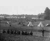 This file photo taken between 1861-1865 during the American Civil War shows a camp scene of U.S. Union soldiers guarding Confederate soldiers. When people, especially former enslaved people, came over to the Union side during the Civil War, the Union granted them asylum.(Agence France-Presse)