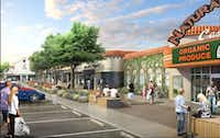 An artist's rendering of Casa Linda Plaza made more pedestrian friendly with expanded sidewalks, new trees and shrubbery.(Courtesy of Edens)