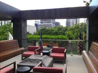 The second-floor terrace at the Saint Paul Place tower on Ross Avenue.(Steve Brown)