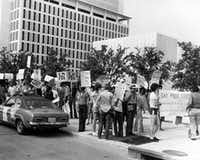 Dallas' first gay pride parade in 1972.(The Dallas Morning News)