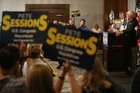 U.S. representative Pete Sessions, of the 32nd district, spoke at a campaign kickoff event at The Highland Dallas hotel in Dallas in June. Sessions, a Republican and the incumbent, is running against Democrat Colin Allred.(Andy Jacobsohn/Staff Photographer)