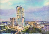 Hicks Holdings LLC announced Monday that it will build a 300-room Westin Hotel plus a 140-room Aloft hotel on five acres within the Glorypark mixed use development in Arlington. Here is a rendering of the hotel project. (RTKL Associates Inc.)