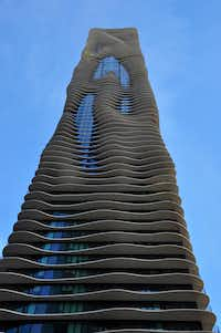 On a Pedway tour, visitors step outside to admire noteworthy architecture, including the Aqua Tower by architect Jeanne Gang.(Katherine Rodeghier/Special Contributor)
