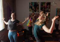 Leigha McCathren (left) leads a stretching and meditation class at Refuge Meditation for Andrew Falcinelli, Joules Eagle, Alex Fox and Amanda Dunnavant.(Rex C. Curry/Special Contributor)