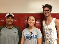 Members of the Woodrow band leadership team include, from left, Francisco Reyna, Kaylin Ramsey and Eric Fleitman.(Dallas Morning News)
