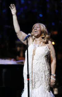 """The Queen of Soul, Aretha Franklin, performs """"Angel"""" as she takes the stage at CitySquare's annual A Night to Remember! at the Winspear Opera House in Dallas on Sept. 6, 2014. Franklin has won 18 Grammy Awards during her career and was the first female performer to be inducted into the Rock and Roll Hall of Fame.(Tom Fox/Staff Photographer)"""